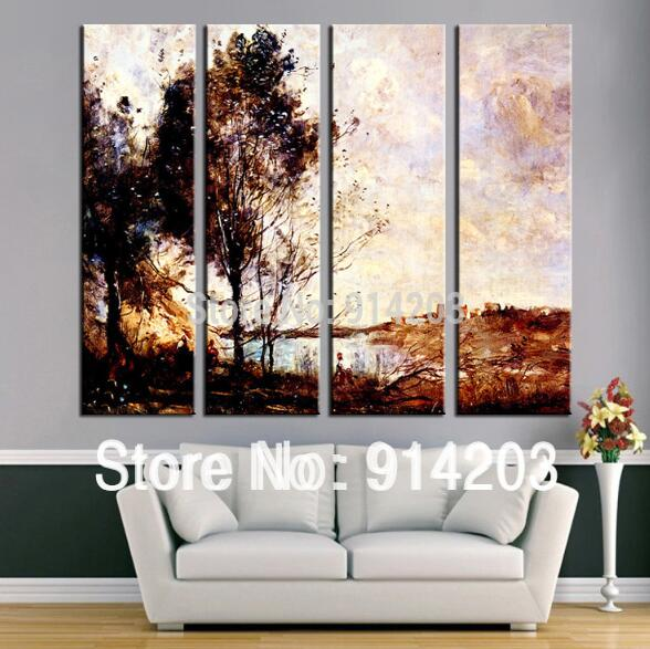 4 piece art set Aesthetic landscape handmade hotel dining room decor wall art work oil painting(China (Mainland))