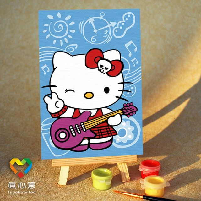 Diy digital oil painting cartoon oil painting mini painting colored drawing - HELLO KITTY guitar 10 15 belt easel