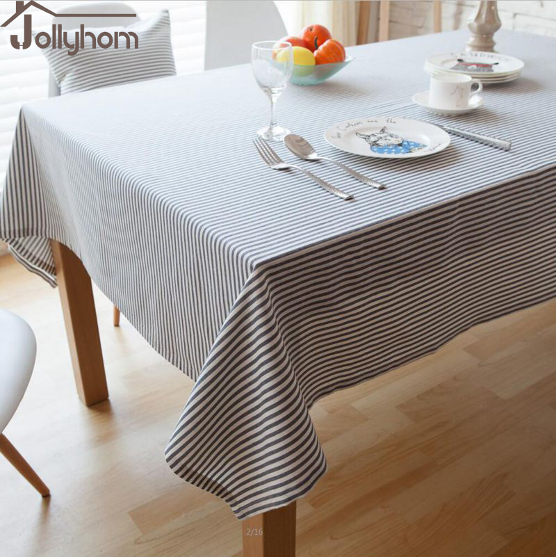 Elegant Striped Tablecloth Rectangle100%Linen Fabric Decoration antifouling Dining /Coffee/ Banquet Table Accept Custom 3colours(China (Mainland))