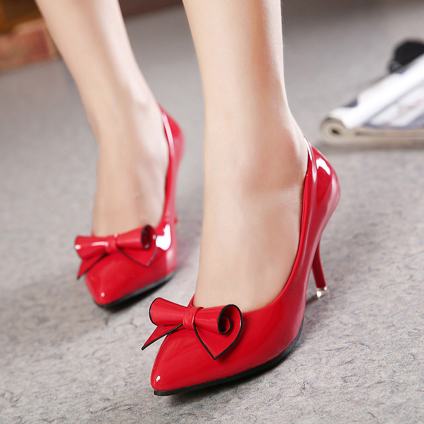 Fashion 2015 spring and summer pointed toe high-heeled shoes sexy thin heels shallow mouth bow shoes red wedding shoes female<br><br>Aliexpress