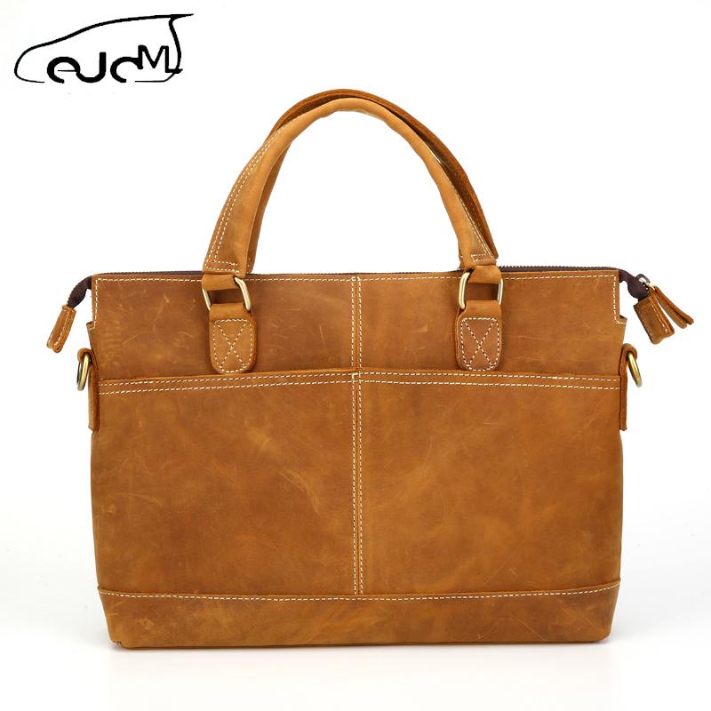 Фотография 2016 Genuine Leather solid Men bag  High Quality men messenger bags vintage laptop bag briefcase handbag L183