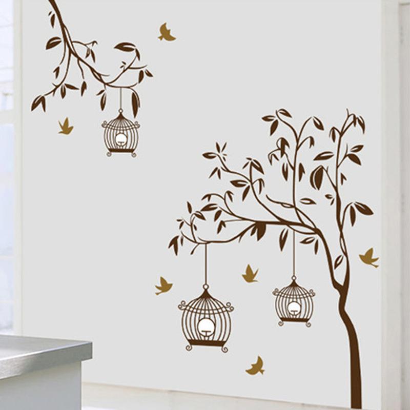 acheter oiseaux cage branche d 39 arbre vinyle wall sticker mural amovible art. Black Bedroom Furniture Sets. Home Design Ideas
