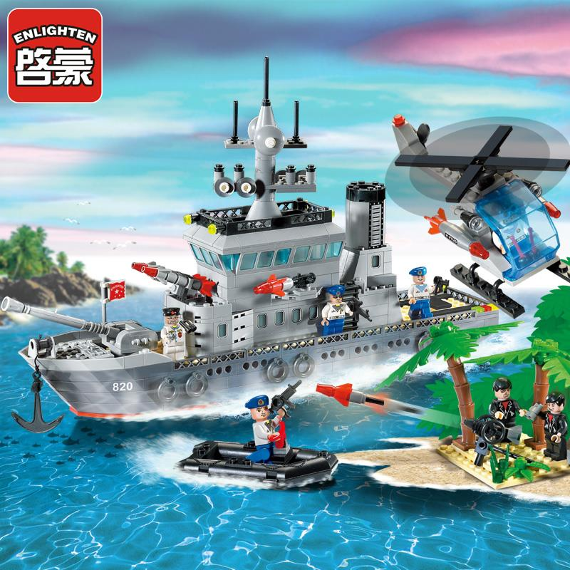 Enlighten Military Series Frigate Building Blocks set Bricks Construction Toys Children Gift 820 Legoeddis