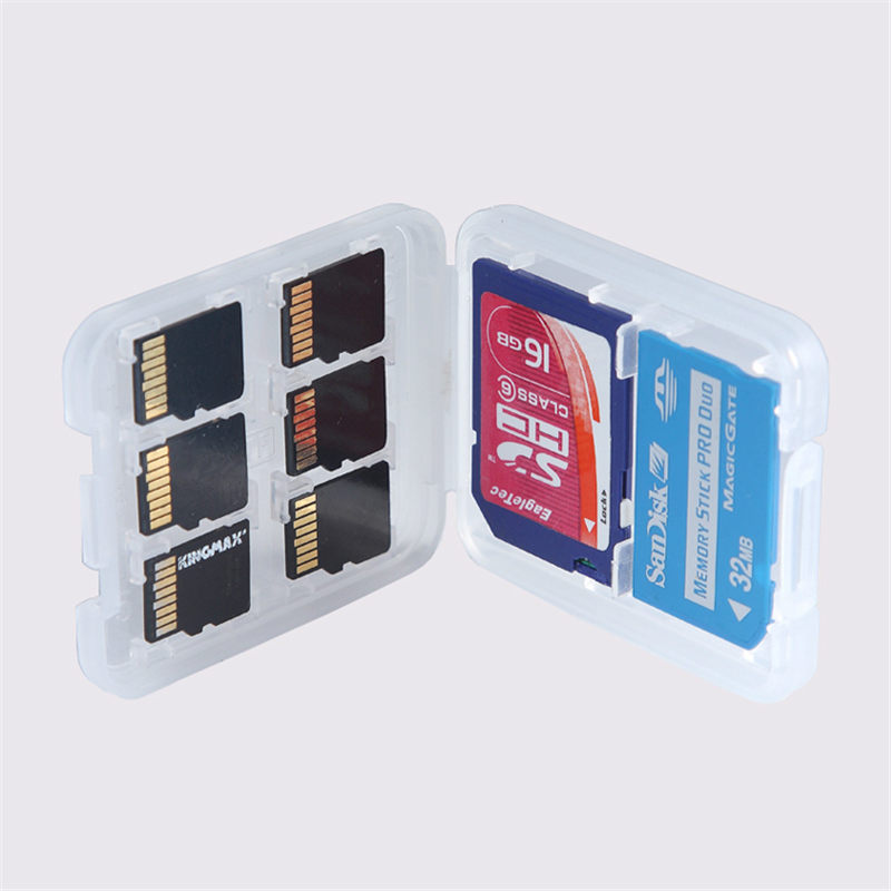 High Quality 1pcs/lot 8 in 1 Plastic Transparent Micro For SD SDHC TF MS Memory Card Storage Case Box Bag Protector Holder(China (Mainland))