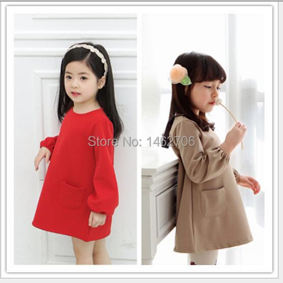 Kids Clothes Baby Girls Dress 2015 Lantern Sleeve Double pocket Solid Color Girls Cinderella Costumes Brand Princess Dress(China (Mainland))