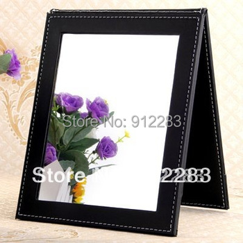 Free Shipping Black Folding Leather Table Traveling Makeup Mirror