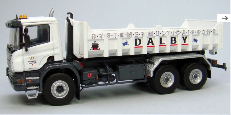 White Extact 1:50 Scale Model Scania P380 with Benne Dalby Plat Bed Truck Toys Collection(China (Mainland))