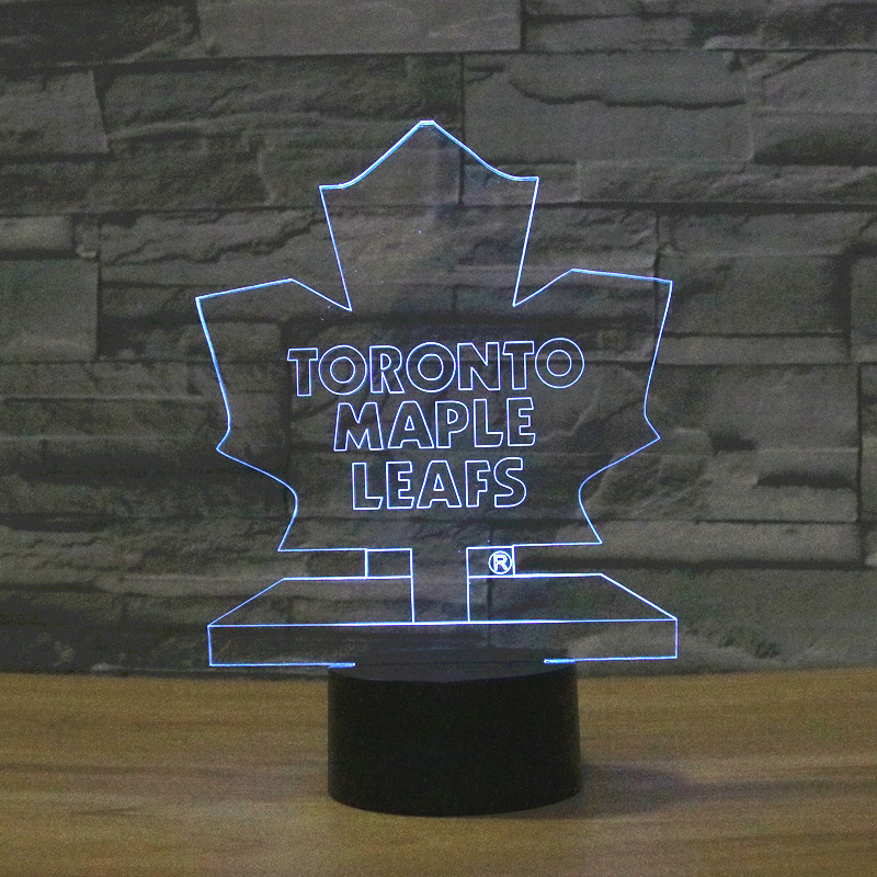 3D Table Lamp Ice Hockey Team Logo Toronto Maple Leafs Color Changing LED Night Light Decor Bedroom Lighting Sport NHL Fans(China (Mainland))