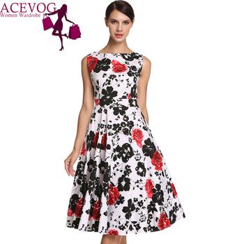 ACEVOG Women Dress Retro Vintage 1950s 60s Rockabilly Floral Swing Summer Dresses Elegant Bow-knot Tunic Vestidos Robe Oversize