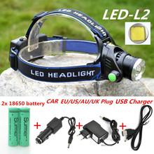 2300LM ZOOM CREE XML-L2 LED Headlamp Headlight Torch flashlight head light lamp +2x18650 Battery+ EU/US/AU/UK Car USB charger(China (Mainland))