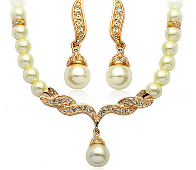 2015 Fake Pearl Beaded Necklace Earrings Sets, Glass Beads Sets. - Golden H Store store