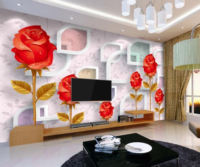 3d room wallpaper custom mural non-woven wall sticker Red roses fashion 3 d TV setting wall paint wallpaper wallpaper(China (Mainland))