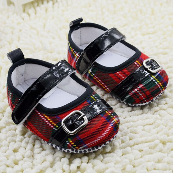 Princess Toddler First Walkers Crib Shoes Plaid Velcro Baby Shoes Soft Sole Belt Prewalker For Freeshipping