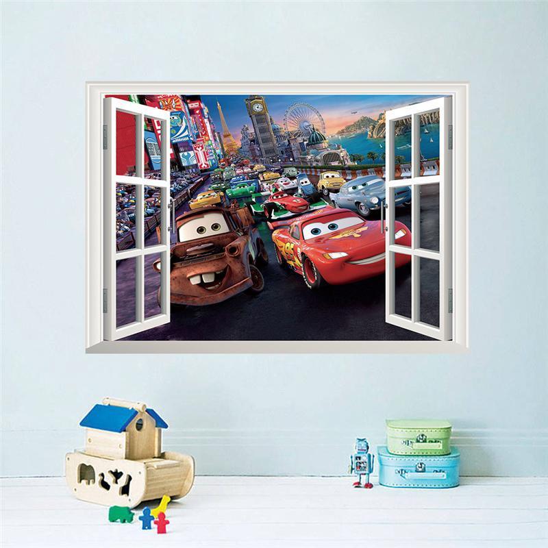 movie cars wall stickers kids bed play room decoration diy 3d cartoon film fantastic window home decals nursery kids mural art(China (Mainland))
