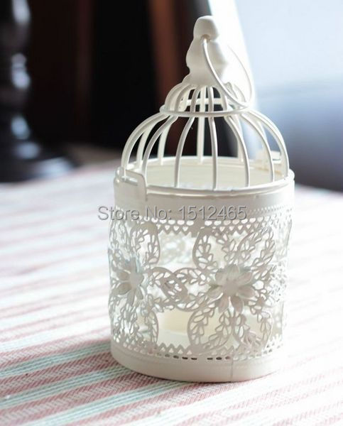 Free shipping,Off White Vintage Flower Pattern Iron Metal Candle Lantern Candle Holder Wedding Home Decoration 8*8*15cm CHV02(China (Mainland))
