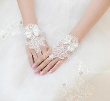 hochzeit handschuhe braut spitze fingerlose brauthandschuhe perlen hochzeit braut kleid handschuh kurz zubehör(China (Mainland))
