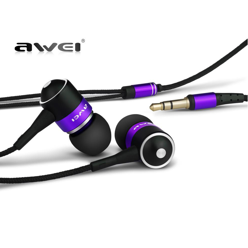 Consumer Electronics Awei ES Q3 Earphone Headphone With Noise Cancelling 3 5mm Earphone Headphones For iPhone