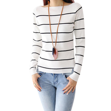 2015 antumn Korean spuare collar striped shirt sweater women's sweaters long sleeve sweaters 4290(China (Mainland))
