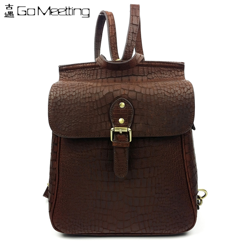 FS Genuine Leather Womens Backpack Crocodile Grain Cowhide Shoulder Bag Travel Bag Vintage Shoulder Backpack Shcool Bag<br><br>Aliexpress