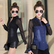 Buy Womens tops fashion 2016 brand new denim shirt long sleeve v-neck chiffon&lace patchwork jeans shirt camisa jeans feminina for $13.52 in AliExpress store