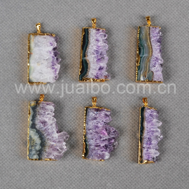 New Fashion jewelry Natural Amethyst Rare Amethyst Druzy Slice Pendant  Druzy Jewelry G0068<br><br>Aliexpress