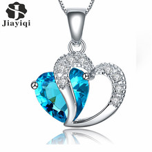 2017 New Zircon Crystal Silver Plated Jewelry Fashion Necklace For Women Best Friend Love Heart Long Chain Necklace Fine Jewelry