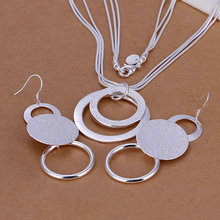Silver Plated Jewelry Set, Fine Jewelry,Nickle Free Antiallergic Double O Two-Piece Wedding Jewelry Set cex aipg(China (Mainland))