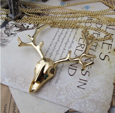 Accessories wholesale long sika deer head sweater chain necklace100 fashion jewelry jewelry wholesale)