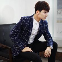 2016 Mens Blazers Jackets Man's Suit One Single Button Men's Leisure Casual Jacket Checked Plaid Latice Man Linen Suit's Blazer