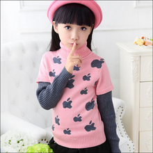 Girls Pattern Sweaters Kids Cotton & Wool Sweater Children's Print Apple Sweaters Girls Turn Pullover Turtleneck Sweaters(China (Mainland))