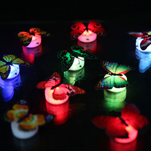 Creative LED night light colorful butterfly butterfly lamp wall lamp luminous multicolored butterfly night light mixed hair(China (Mainland))