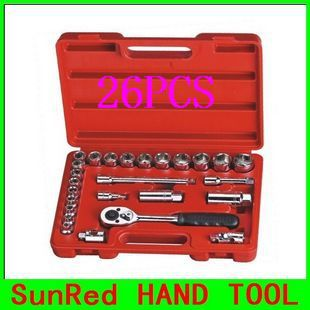 "BESTIR taiwan made excellent quality 26PCS 10MM 3/8"" Dr.6PT metric Socket spanner Tool car tool kit NO.91201 wholesale(China (Mainland))"