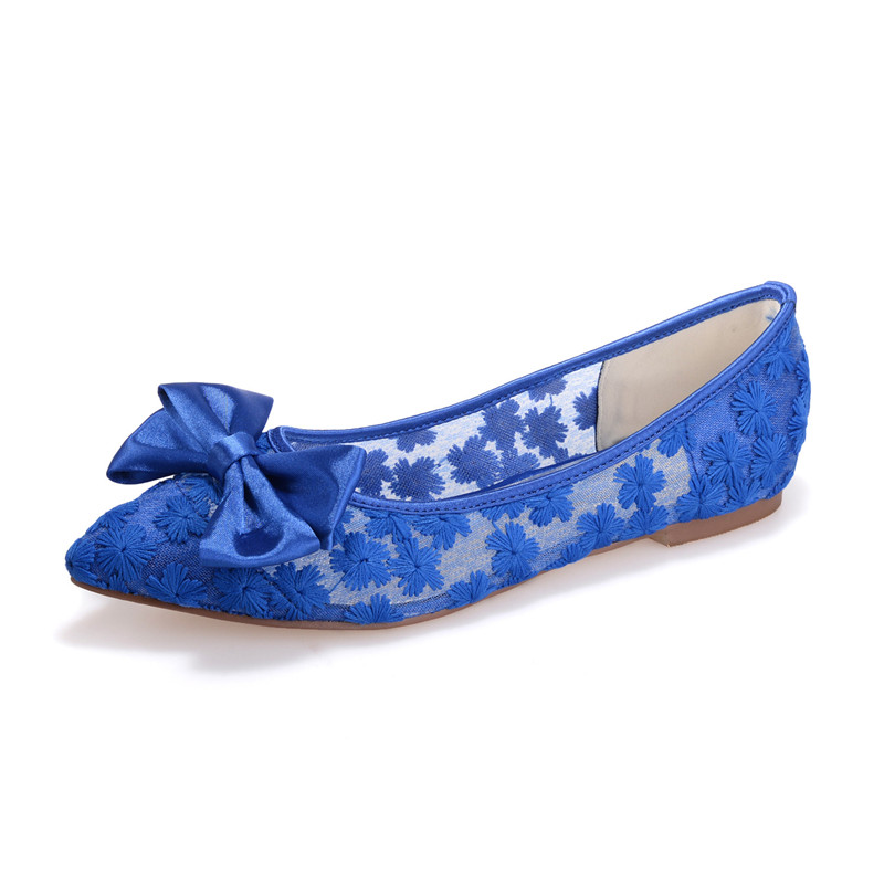royal blue pointed toe flat heel women flats wedding bridal shoes