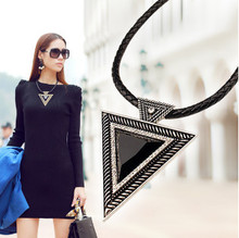 x248 2014 Vintage Jewelry Triangle Statement Necklace Rhinestone Necklaces & pendants Leather Chain Dress Costume Item(China (Mainland))