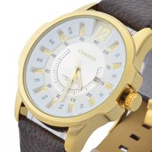 3ATM resistente al agua! CURREN cuero marca reloj con correa para Mens cuarzo militar estilo moda relojes