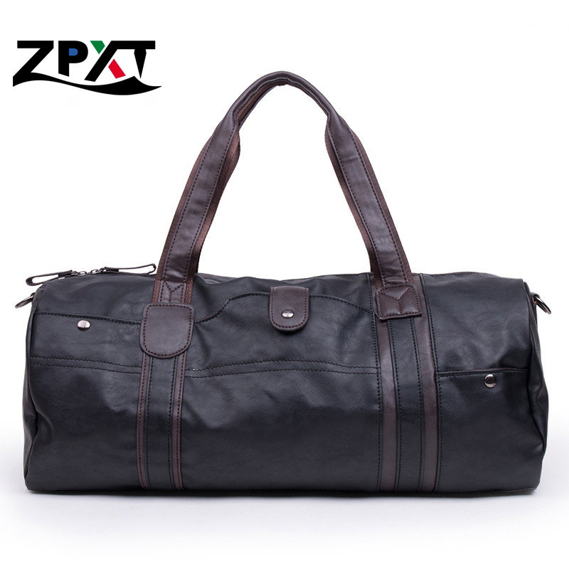 3 Colors Men Large Leather Duffle/Gym/Travel Bags Luggage Handbag Shoulder Bag High-capacity Cylinder Casual Wholesale(China (Mainland))