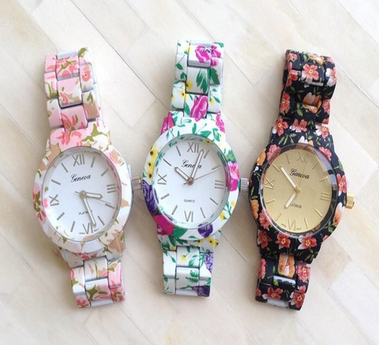 Classy Chic Popular Alloy Geneva Watch Flower Printed Watches women Casual Wristwatches Quartz Floral 5colors - Di Da store