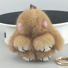 8 cm New Design Real Mink Chave Cadeias De Peles Naturais Mini Coelho Pata Bonito Bolsa Pingente de Chave Anel Com rinestone titular Da Corrente chave(China)