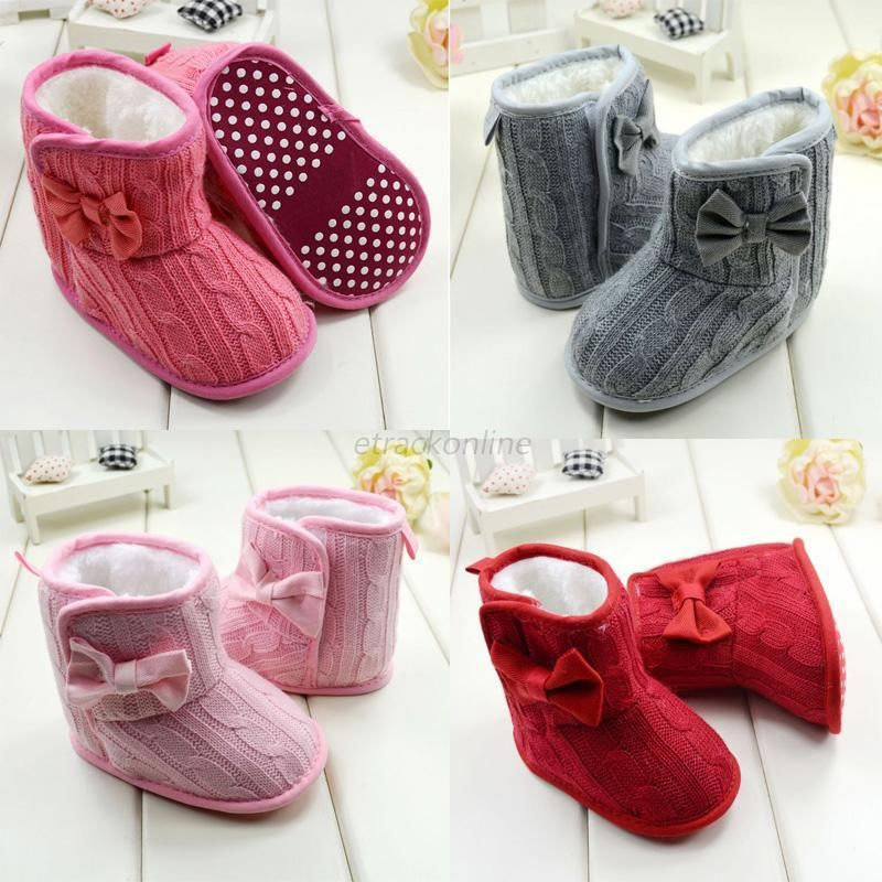 Baby Girl Boy Snow Boots Knit Bowknot Faux Fleece Soft Sole Kids Woolen Yam Knit Fur 3-18 Months(China (Mainland))