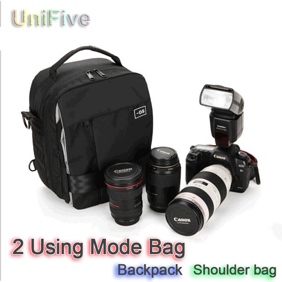 2-Using-Mode Backpack / Shoulder Bag DSLR Waterproof Camera Bag For Canon Nikon 70D 60D 600D 700D 6D D5500 D7100 bag for camera(China (Mainland))