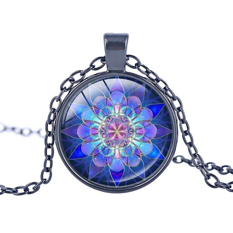 Mandala Pendant Mandala Necklace Blue Mandala Art Necklace zen Pendant charms Glass cabochon Necklace Yoga Jewelry lucky amulet