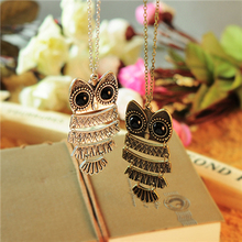 2015 New Arrival Fashion Hot Sale Animal Collares Mujer Vintage Owl Pendant Necklace Long Sweater Chain