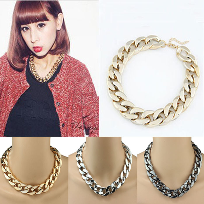 2014 new women girl Shiny Link ID Celebrity Style Copper Coated Beads Choker statement necklace Chain T-east(China (Mainland))