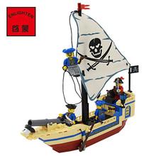 Enlighten Intellectual Assembling Toys 304 pcs Pirate Ship Building Bricks Blocks Sets Figures Minifigures compatible with legoe