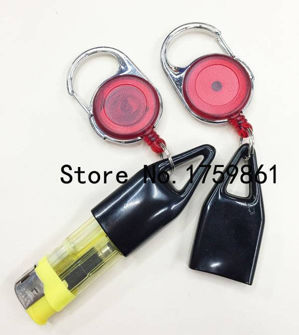 HOT 2pcs red high quality Lighter jacket Retractable Badge Holder Reels with Clip Keep ID, Key and Cell phone Safe Free Shipping(China (Mainland))
