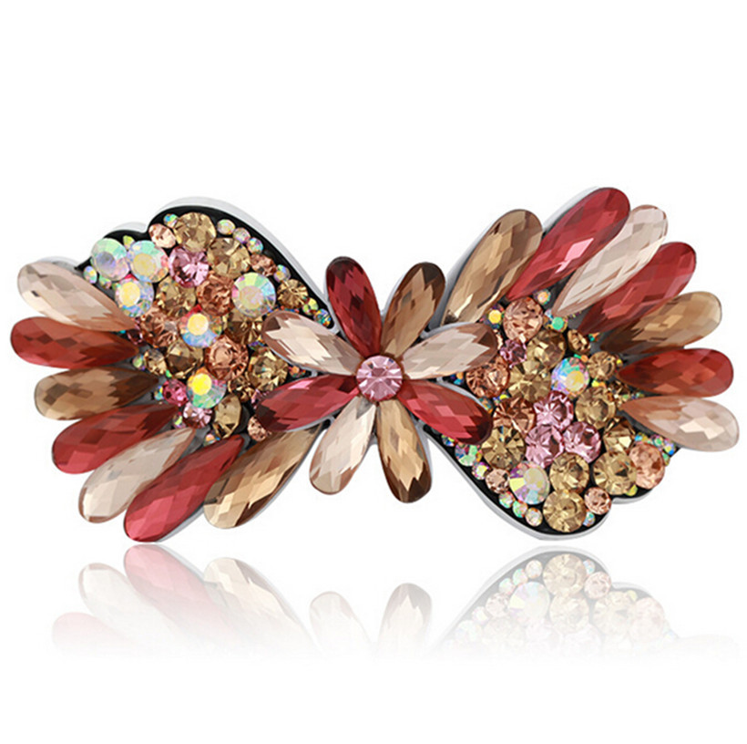 hot high quality crystal colorful shining peacock feather hair clip crystal barrettes hair pins rhinestones RM210(China (Mainland))