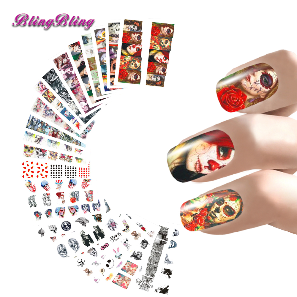 24 Sheet Halloween Nail Stickers Set Water Decals Scary Design Nail Wraps Hallow'sDay Decoration Ghost Bat Skull Witch Death(China (Mainland))