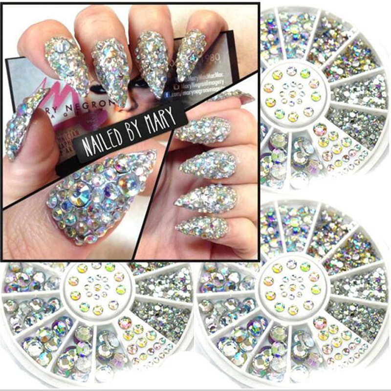 Mix 3Sizes about 300 Pcs Nail Art Tips Crystal Glitter Rhinestone 3D Nail Art Decoration white AB Color Acrylic Diamond Drill(China (Mainland))