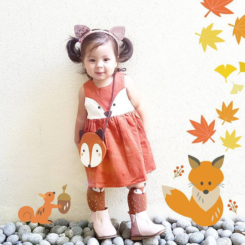 2016 Spring Sweet Toddler Baby Girls Fox Style Dress Ruffles Casual Fashion Dresses Orange Easter Dress(China (Mainland))