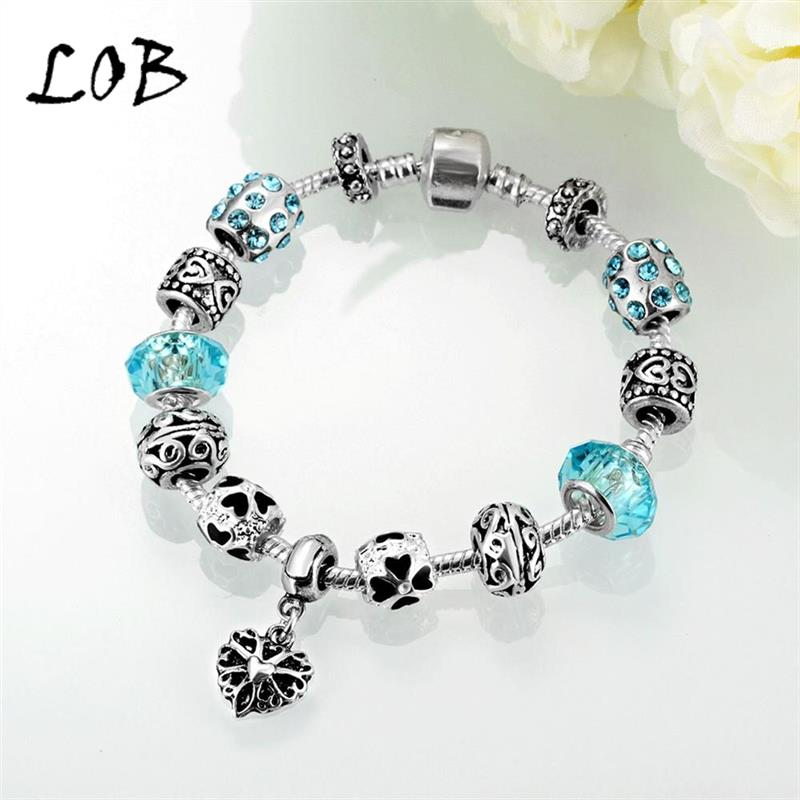 Fashion Black Oil Drip Heart Charm bracelet for Women DIY Crystal Beads Fit Original Bracelets(China (Mainland))